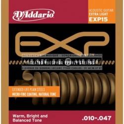 D'Addario EXP15 - Jeu de cordes Coated Phosphor Bronze 10-47 pour guitare acoustique