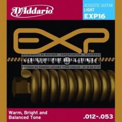D'Addario EXP16 - Jeu de cordes Coated Phosphor Bronze 12-53 pour guitare acoustique