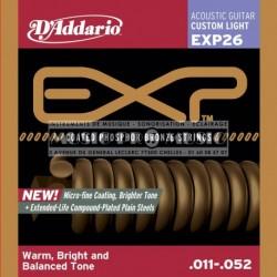 D'Addario EXP26 - Jeu de cordes Coated Phosphor Bronze 11-52 pour guitare acoustique