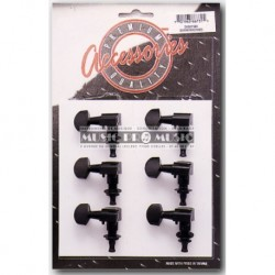 Stagg KG673BK - Mécaniques noires 6 gauches pour guitare acoustique ou électrique