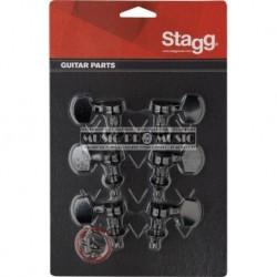 Stagg KG371BK - Mécaniques noires 3 gauches 3 droites pour guitare acoustique ou électrique