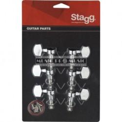 Stagg KG371CR - Mécaniques chromées 3 gauches 3 droites pour guitare acoustique ou électrique
