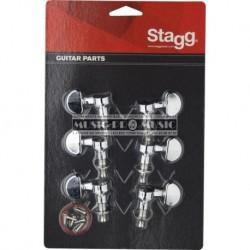 Stagg KG395CR - Mécaniques chromées 3 gauches 3 droites pour guitare acoustique ou électrique