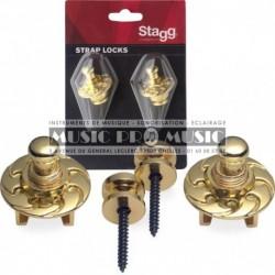 Stagg SSL1-GD - Straps locks dorés pour guitare électrique
