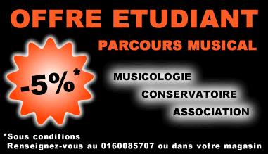 """Offre étudiant """"Parcours musical"""" -5% chez Music Pro Music"""